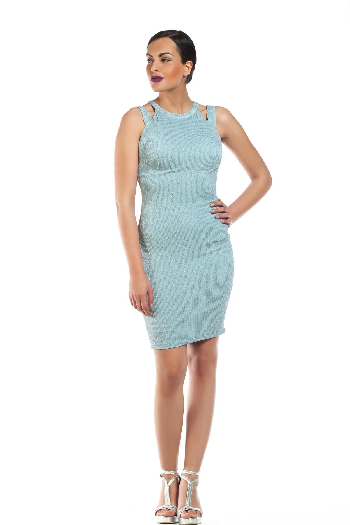 50adac6387b8 Φόρεμα γαλάζιο pencil με glitter