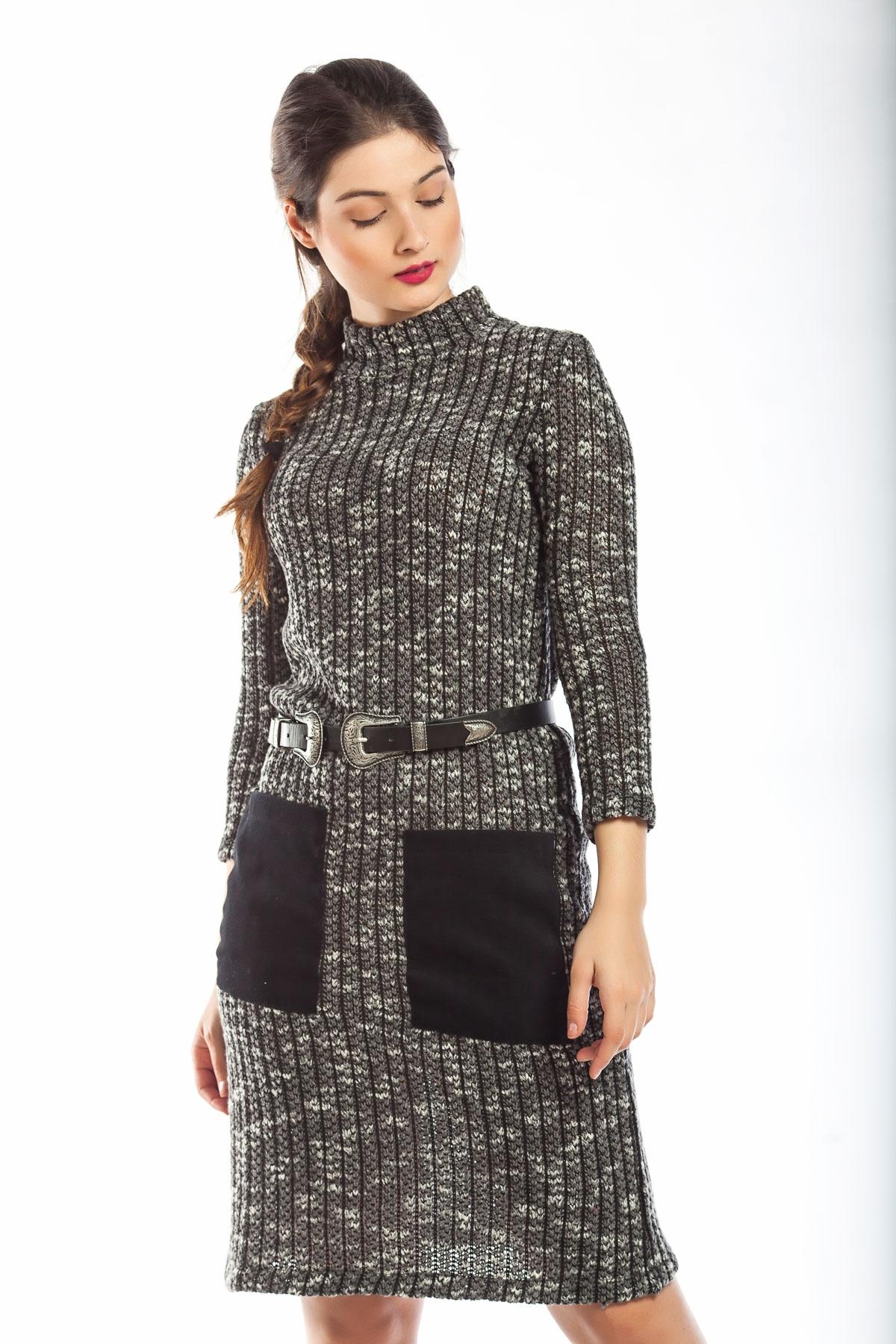 Φόρεμα γκρι pencil με τσέπες 8afd6e6cd8e