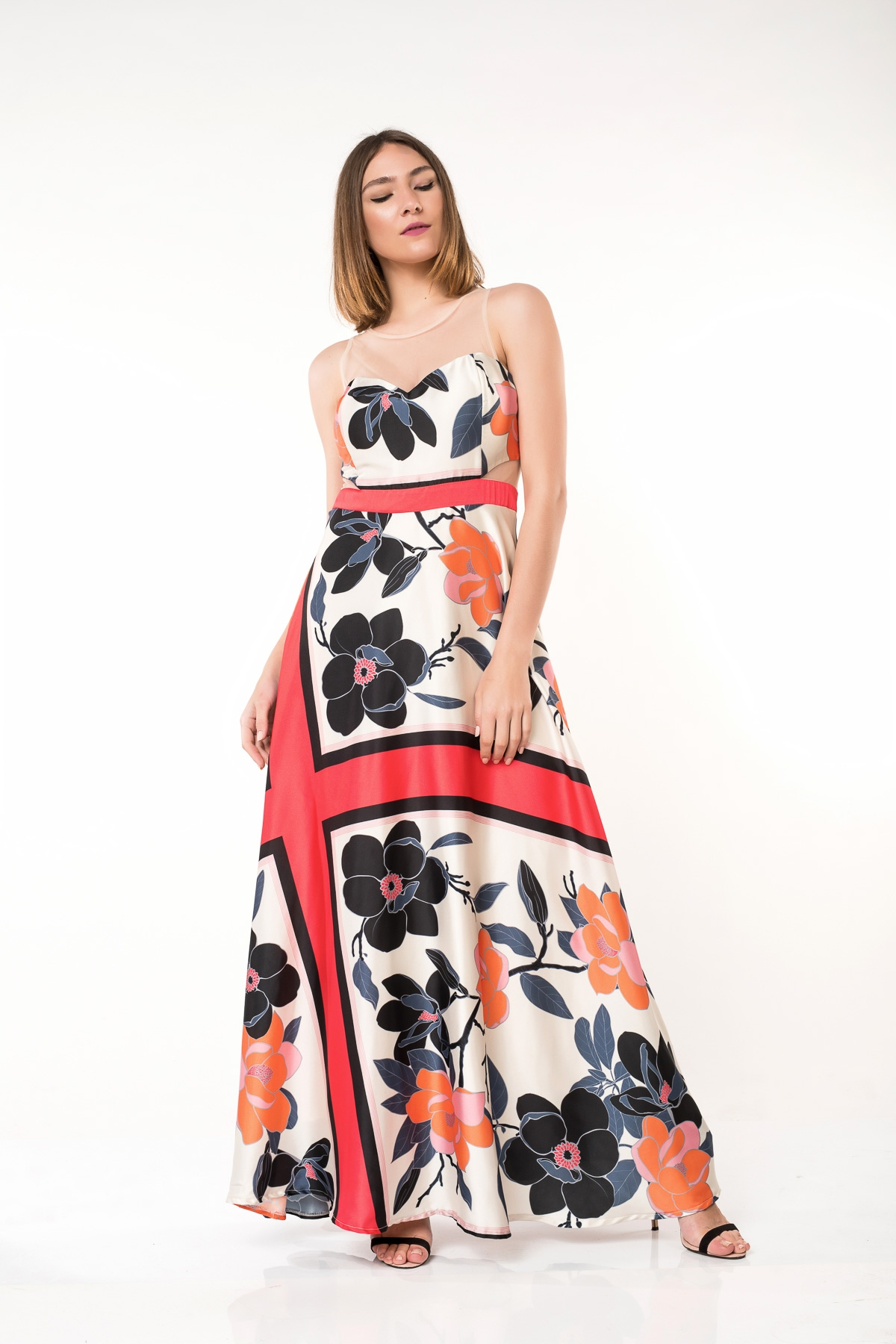 479ddea0334e Φόρεμα κοραλί μπεζ floral maxi με διαφάνεια