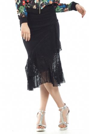 Φούστα μαύρη με βολάν 188359b2be2
