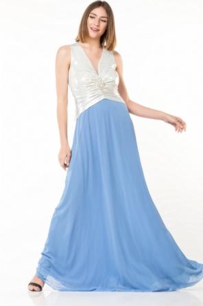 a7fbf3a208c Φόρεμα γαλάζιο με ασημί maxi