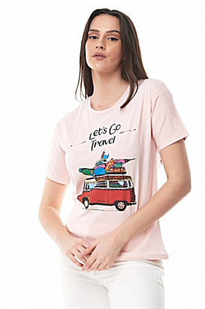 T-shirt ροζ Let's go travel
